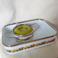 Vintage Siltal Italy Enamel Baking Pan Casserole Dish & Small Cookware Pot Set