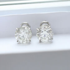10.12 ct EGL H SI1 round ideal cut diamond stud earrings platinum eurowire backs