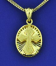 2.00 Grams diamond cut No stones 18K Solid Yellow Gold 3-D Cross Pendant