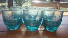 Heavy Blue Aqua Old Fashion Glasses whiskey glasses juice glasses pebbled 6 11oz