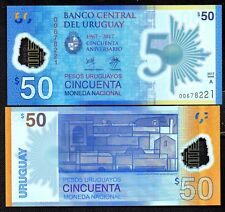 (2018) URUGUAY FIRST POLYMER NOTE 50 PESOS - CRISP UNC BUNDLE OF 100 - FREE S/H