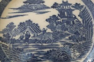 ANTIQUE EARLY 19THC BLUE & WHITE PEARLWARE PLATE - BOY ON A BUFFALO