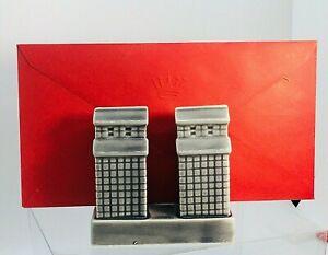 Grey Skyscrapers Porcelain Desktop Letter / Napkin Holder Architectural Interest