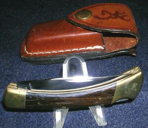 Fine Vintage Browning 501 Lockblade Folding Hunter Pocket Knife & Sheath! Unused