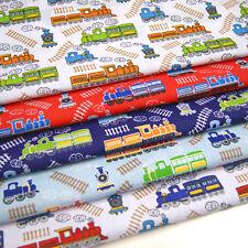 Childrens Fabric TRAINS - Kids Baby Nursery Polycotton Boys Blue White Train