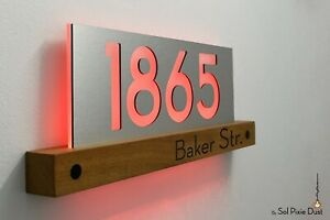 Modern House Numbers LED 5V - African Teak Iroko wood & Silver Face -Plaque sign