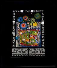 Hundertwasser Arche Noah Poster Bild Kunstdruck im Alu Rahmen in schwarz 50x40cm