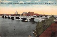 Waterloo IA~5th St Bridge~Cedar River~Fun Starts Today~Lot of People Here~c1910