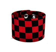 Black & Red Checkered Canvas Fabric Wristband Bracelet Cuff Goth Punk Emo Grunge