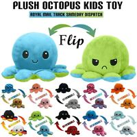 ULTRA SOFT PLUSH FLIP Reversible Octopus Happy Sad Mood Teddy Cute Kids Toys