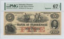 1850s $2 Florence Bank Nebraska Obsolete PMG Superb Gem 67 EPQ