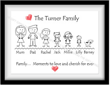 Family Tree Personalised Word Art, Stick Print Gift - Mum Dad Nanny Xmas Present