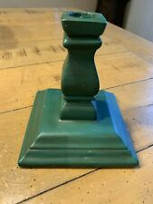 """Atlantic Mold Green Candle holder ceramic 5.5"""" tall vintage Candlestick"""
