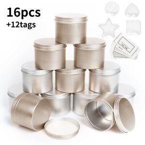 16PCS Silver Gold Metal Tin Making Wax Container Jar Round/irregular Candle Tins