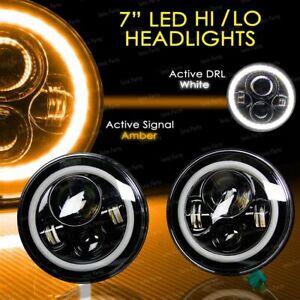 2x 7inch Round LED Hi/Lo Headlight Halo Angel Eyes For Jeep Wrangler JK TJ LJ CJ