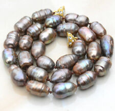 """New 10-11MM CHAMPAGNE NATURAL TAHITIAN PEARL NECKLACE 18"""" magnetic Clasp"""