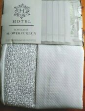 Hotel Collection White Matelasse Cotton Embroidered Border Shower Curtain 72X72