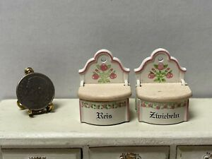 Vintage BODO HENNIG Rice & Onions Enameled Metal Bins Dollhouse Miniature 1:12
