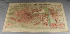 Historischer Plan von Stuttgart und Cannstatt - Maßstab 1:12.000 - 81,5 x 45 /85