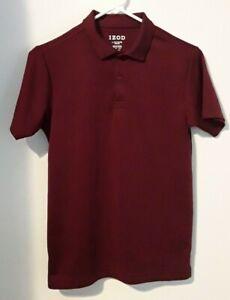 IZOD boy size L 14/16 solid burgandy short sleeve polo shirt
