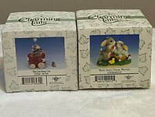 2 Fitz and Floyd Charming Tails Figurines The Get Away Car Wash Away Worries Nib