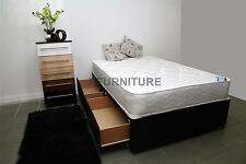4ft Small Double Divan Bed with 2Drawers, Black Base & Deep Quilt Mattress