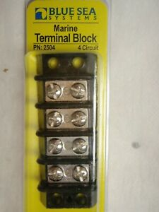 TERMINAL BLOCK BLUE SEA 661-2504 4 GANG 30AMP #8 SCREWS MARINE BOAT ELECTRICAL