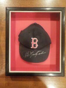 🔥Framed Signed Original Old School CARL YASTRZEMSKI Red Sox Cap /Hat COA JSA