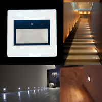 Motion Sensor LED Wall Recessed Stairs Light Hall Hotel Footlight Indoor Lamp 1W