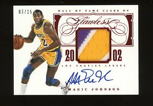2013-14 Panini Flawless Ruby Magic Johnson 3-Color Patch AUTO 3/15 Lakers