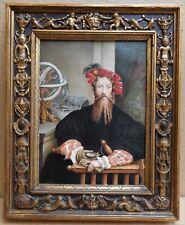 Christopher Columbus. Gouache Portrait Miniature after Parmigianino, circa 1820