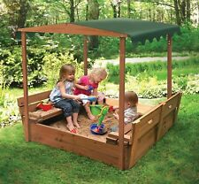 Sandbox For Kids Canopy Cover Wood Outdoor Backyard Play Bench Sand Outside Fun