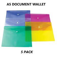 A5 Plastic Stud Document Wallet Folders Document Filing Storage Folder 5 Pack