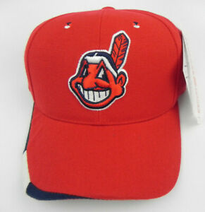 CLEVELAND INDIANS MLB RED AMERICAN NEEDLE STRAPBACK VTG CHIEF WAHOO CAP HAT NWT