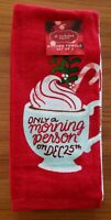 NEW St Nicholas Square 2-PACK Christmas Towels MORNING PERSON Holiday RED #20919