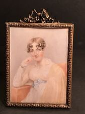 An Antique Miniature Portrait Of A Young Lady Watercolor On ( IVORINE ) / Signed