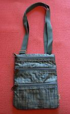 Eddie Bauer Small Turquoise Blue Cross Body Travel Document Bag 3 Zipper Purse