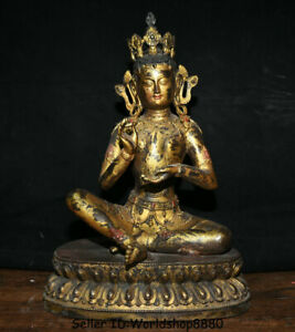 "15.6""Tibet Mahayana Buddhism Bronze Gilt Green Tara enlightenment Goddess Statue"