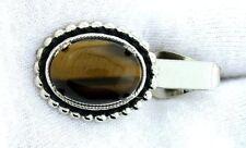 Gem Silver Color Tie Clip Bar Eptt313 1 1/2 Inch 18x13 Oval Tiger Eye Cabochon