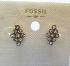 Fossil Diamond Cluster Earrings- diamond shape-clear crystals post back
