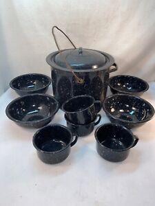 Vtg 10p Graniteware Black Speckled Enamel Stock Pot 4 Bowls Cups Hunt Camp Cabin