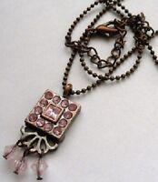 collier pendentif bijou vintage couleur vieil or cristaux diamants rose * 4187