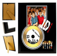 1D 1 DIRECTION - A4 SIGNED FRAMED GOLD VINYL COLLECTORS CD DISPLAY PICTURE