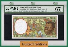 TT PK 602Pd 1997 CENTRAL AFRICAN STATES / CHAD 1000 FRANCS PMG 67 EPQ SUPEB GEM!
