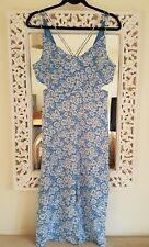 Topshop Blue Cornflower Midi Dress, UK Size 8, petite New