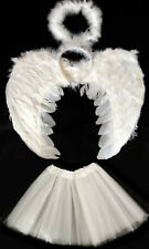 WHITE ANGEL WINGS, HALO AND TUTU SET HALLOWEEN COSTUME FANCY DRESS
