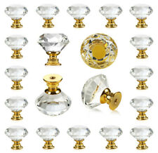 25 pc Crystal Gold Glass Knobs Drawer Pulls for Kitchen Cabinet Dresser Cupboard
