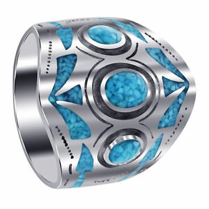 Men?s 925 Sterling Silver Turquoise Chip Inlay Mosaic Design Ring Size 12