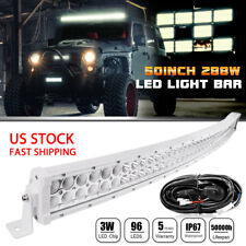 """50"""" WHITE CURVED 288W LED LIGHT BAR COMBO SPOT FLOOD LAMP Off Road Driving 52"""""""