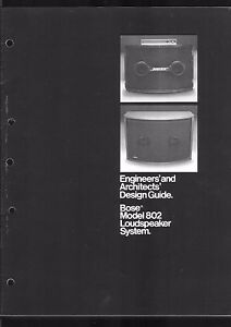 Bose Model 802 Loudspeaker Engineers and Architects´Design Guide user manual Cop